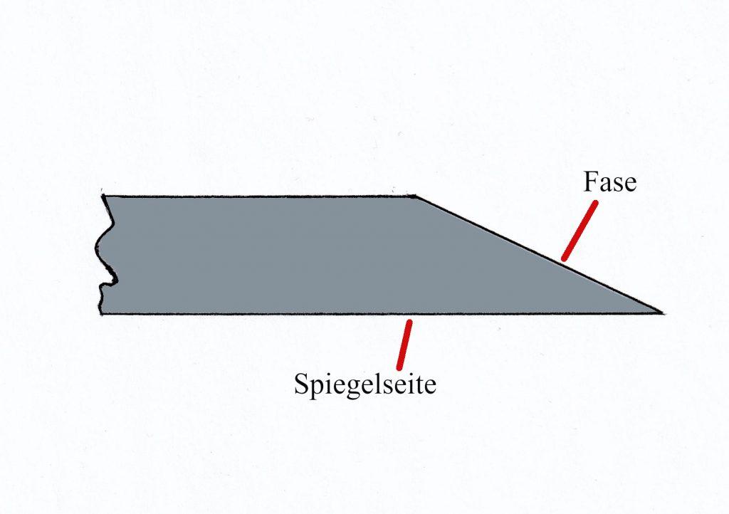 erklärende Skizze eines Stemm oder Hobeleisens von Seite betrachtet, Fase und Spiegelseite sind bezeichnet