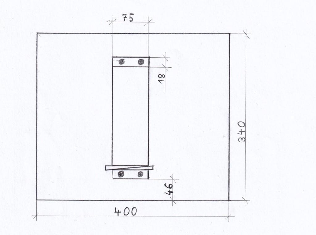 Draufsicht Schleifstein-Halter technische Zeichnung