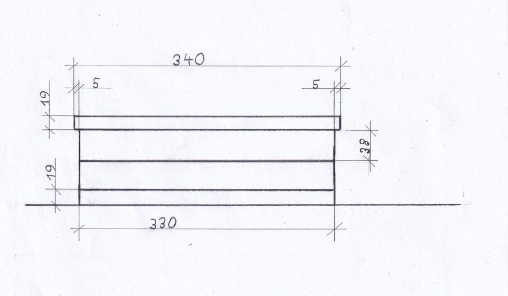 Seitenansicht Schleifstein-Halter technische Zeichnung