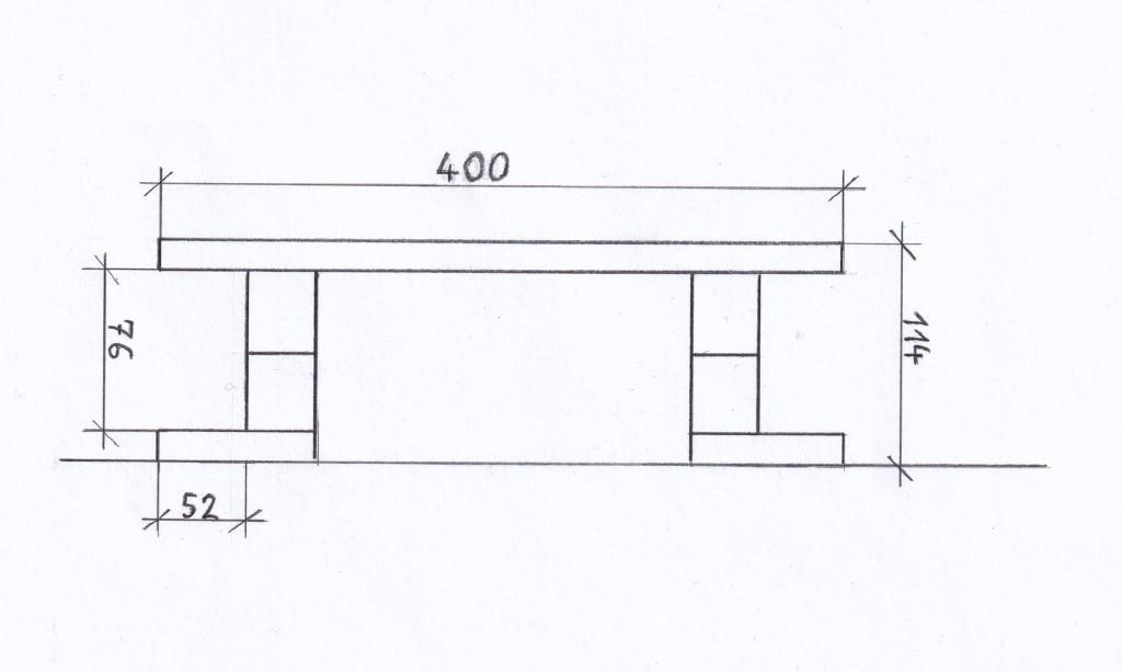 Vorderansicht Schleifstein-Halter Zeichnung